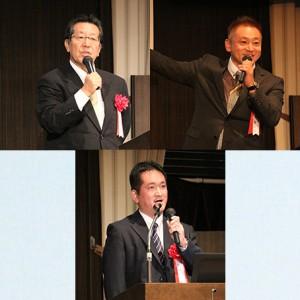 右上:ユナイテッド・パシフィック・吉村寛之 代表 左上:わかば塾・下岡輝也 代表 下:わかば塾 みどり町教室 島田憲 教室長
