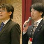 左:選手宣誓を行った洛西進学教室の荻野晃平先生 右:審査員の名古屋中学・高等学校・森田祐二 校長先生