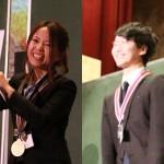左:グランドチャンピオン に輝いた戸田有香 先生(洛西進学教室) 右:ルーキー部門でチャン ピオンになった吉田翔太 先生(練成会グループ)