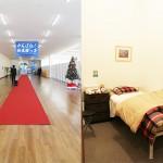 左:エントランスまでの長いアプローチ 右:急病の際の保健室
