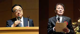 [左]次回の大会委員長を務める進学プラザグループ・阿部孝治代表 [右]大会委員長を務めたeisu group・山本千秋 CEO