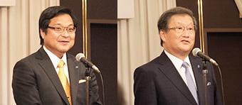 [左]社長に就任した永井博 氏 [右]会長に就任した太田明弘 氏