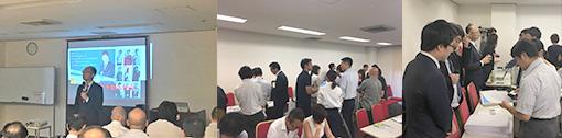 [左]学びエイド・廣政愁一 代表 [右]各社ブースには多くの塾関係者が集まった