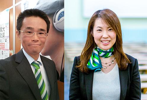 [左] 安藤文博 MEIRIN高校館 校長 [右] 藤井美由紀 取締役
