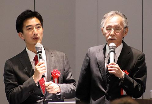[左] LINE・主席政策担当の村井宗明 氏 [右] PS・コンサルティング・システム 小林弘典 代表