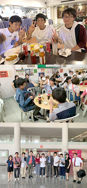 [上2枚] 和気あいあいとした食事風景 [下] クアラルンプール市内の私立大学を訪問