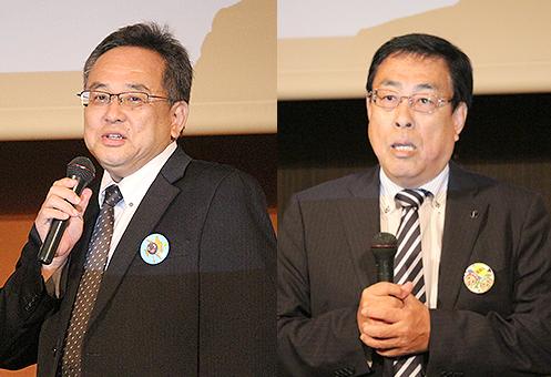 [左] アップ・小南達男 社長 [右] 幹事塾の創造学園・勝野哲也 社長