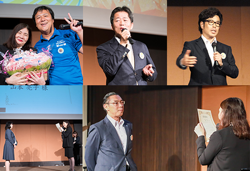 [上:左から] ケーイーシー 小椋義則 社長、京都洛西予備校 土肥賢司 代表、埼英スクール 松村幸夫 代表 [下] 感謝状贈呈式