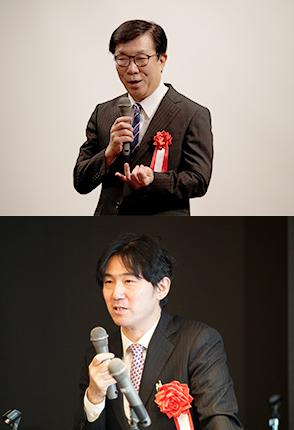 [上] 日本青少年育成協会 木村吉宏 副会長 [下] 桐蔭学園 溝上慎一 理事長