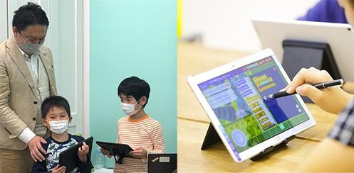 [左] HALLO レッスンでの作品発表の様子(小学校3年生) [右] Playgram のミッションモードでプログラムを組む様子