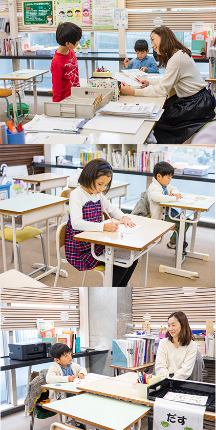 [上から] 先生に質問する子ども、 集中して問題と向き合う子どもたち、子どもの考える力を引き出す様子